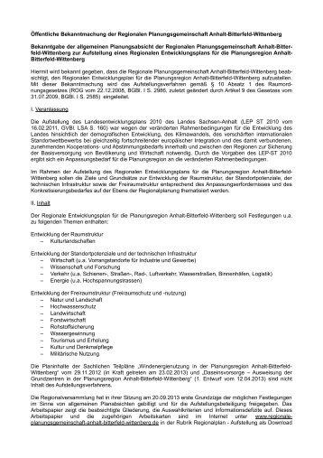 Allgemeine Planungsabsicht zur Aufstellung eines Regionalen ...