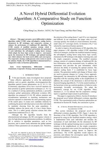 A Novel Hybrid Differential Evolution Algorithm - International ...