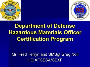 Department of Defense Hazardous Materials Officer Certification ...