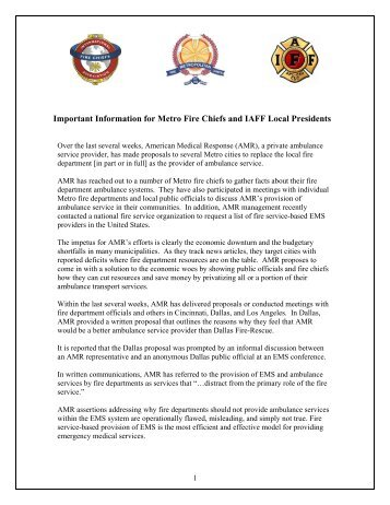 Important Information for Metro Fire Chiefs and IAFF Local Presidents