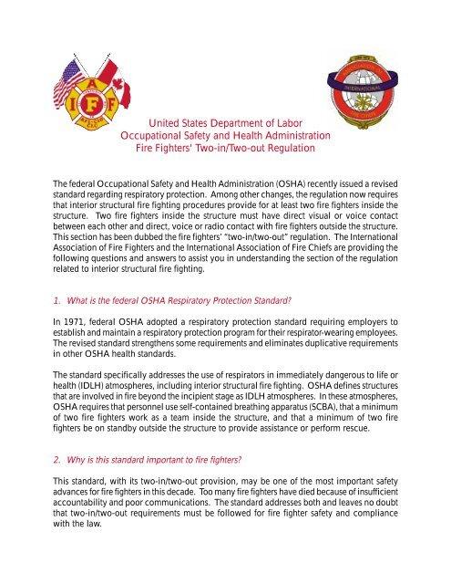 OSHA 2 in 2 out Rule pdf - IAFF Local 21