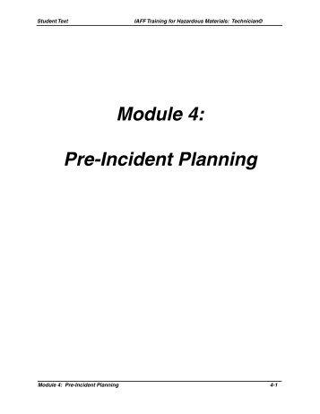 Module 4: Pre-Incident Planning - International Association of Fire ...