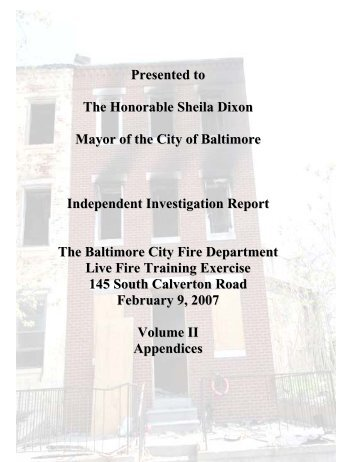 Baltimore City Fire Department, Independent Investigation ...