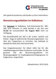 Renovierungsarbeiten im Kalkahaus - IAG Gelsenkirchen
