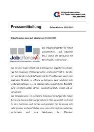 IAG startet Joboffensive am 01.03.2013 - IAG Gelsenkirchen