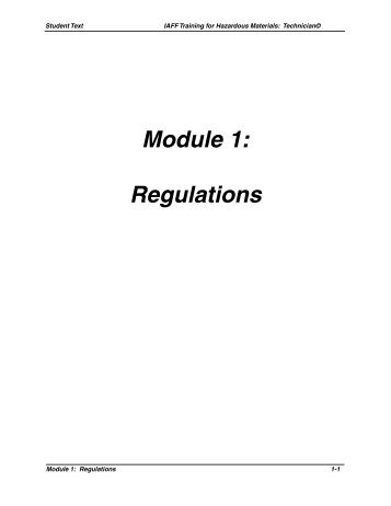 Module 1: Regulations - International Association of Fire Fighters