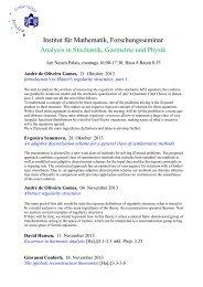 Institut für Mathematik, Forschungsseminar Analysis in Stochastik ...