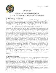 Bulletin 1 Schule für Astroteilchenphysik 2.–10. Oktober 2013 ...