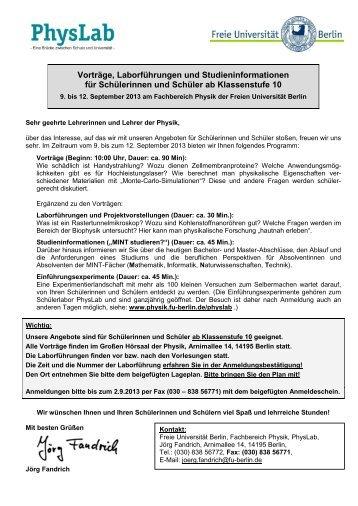 Informations - Freie Universität Berlin
