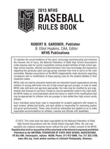 2013 Baseball Rules Book - Iowa High School Athletic Association