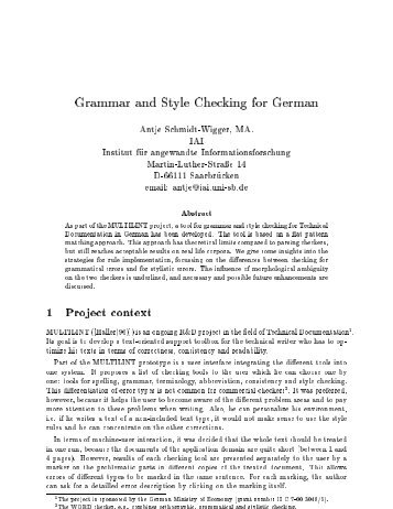 Grammar and Style Checking for German - CiteSeerX