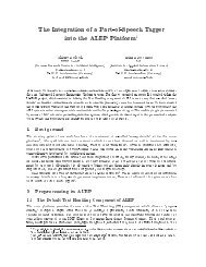 The Integration of a Part-of-Speech Tagger into the ALEP Platform1