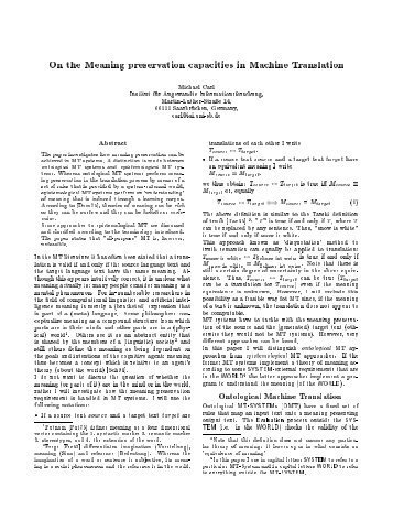 On the Meaning preservation capacities in Machine Translation