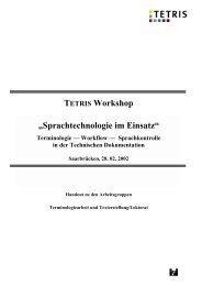 Handout TETRIS Workshop 2002 - IAI Saarbrücken