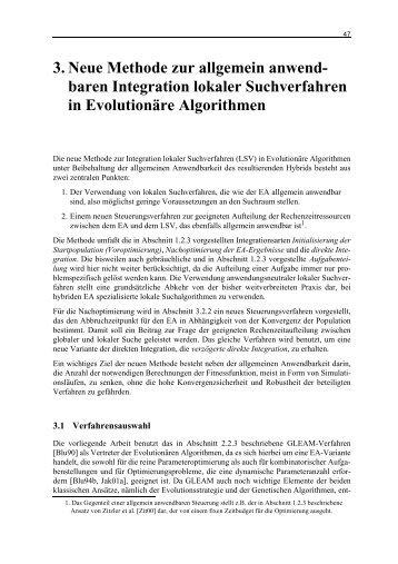 baren Integration lokaler Suchverfahren in Evolutionäre Algorithmen