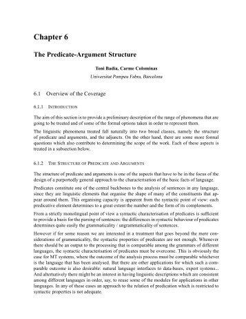 Predicate-Argument Structure