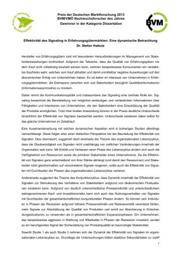Preis der Deutschen Marktforschung 2013 BVM/VMÖ ...
