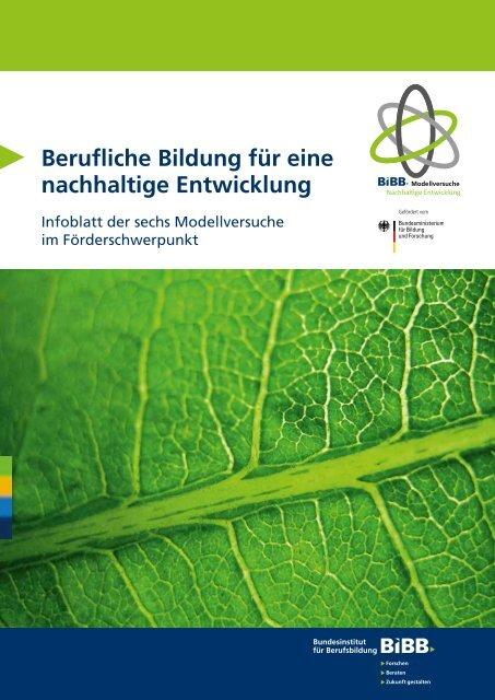 Berufliche Bildung für eine nachhaltige Entwicklung - BiBB
