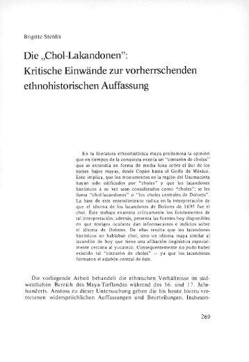 """Die """"Chol-Lakandonen"""": Kritische Einwände zur vorherrschenden ..."""