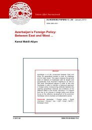 Azerbaijan's Foreign Policy: Between East and West ... - Istituto Affari ...
