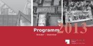 Aktuelles Veranstaltungsprogramm Oktober – Dezember 2013