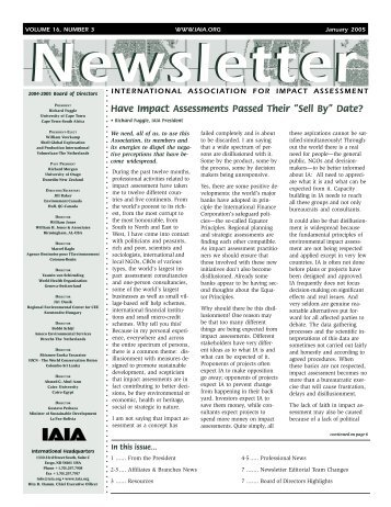 Number 3, January 2005 - International Association for Impact ...