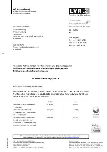 Finanzielle Aufwendungen für Pflegestellen und Erziehungsstellen ...
