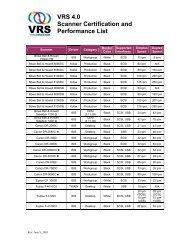 VRS 4.0 Scanner Certification and Performance List