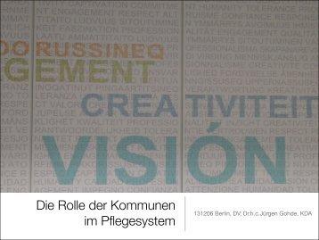 Die Rolle der Kommunen im Pflegesystem - Deutscher Verein