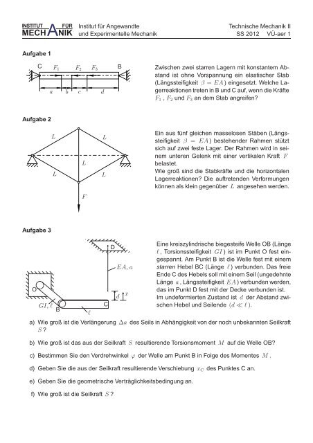 Aufgabensammlung - Institut für Angewandte und Experimentelle ...