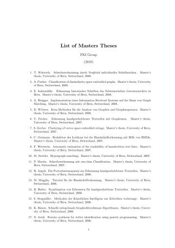List of Masters Theses