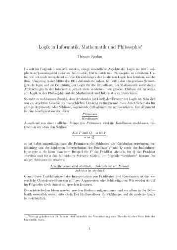 Logik in Informatik, Mathematik und Philosophie - Universität Bern