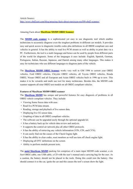 obd2cart com-Amazing Facts about MaxiScan MS509 OBD2 Scanner pdf