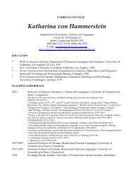 Katharina von Hammerstein - Literatures, Cultures Languages ...