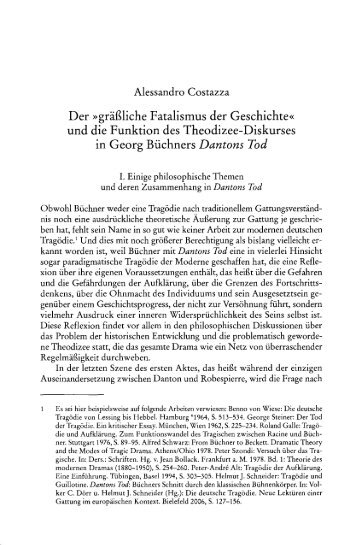 Der »gräßliche Fatalismus der Geschichte« und die Funktion des ...