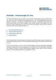 Merkblatt – Versicherungen für Tiere - Bund der Versicherten e.V.