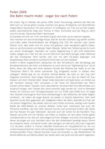 Polen 2009 Die Bahn macht mobil - sogar bis nach Polen! - AMG Trier