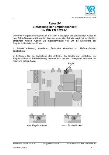 einbau und bedienungsanleitung garagentorantrieb rator s4. Black Bedroom Furniture Sets. Home Design Ideas