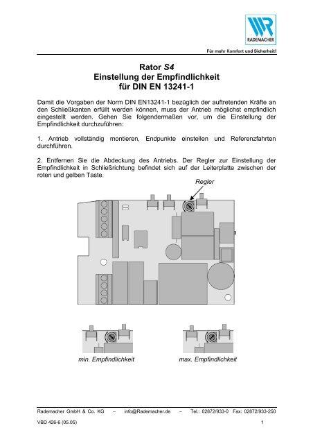 Rator S4 Einstellung der Empfindlichkeit für DIN EN 13241-1