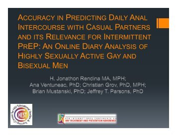 accuracy in predicting daily anal intercourse with casual ... - IAPAC