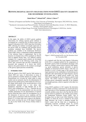 refining regional gravity field solutions with goce gravity gradients for ...
