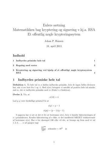 Eulers sætning Matematikken bag kryptering og signering v ... - PURE