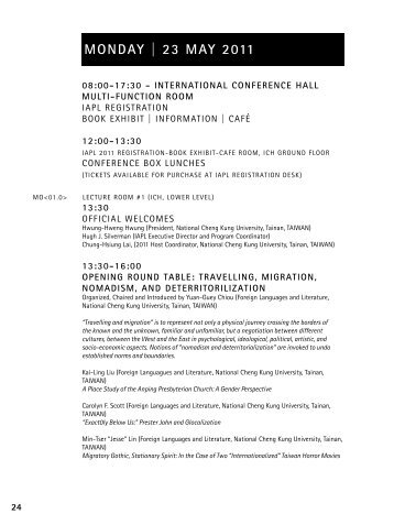 tentative iapl 2011 conference program - The International ...