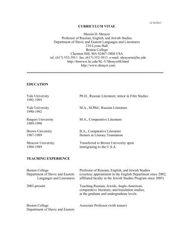 Curriculum Vitae in pdf format - Boston College