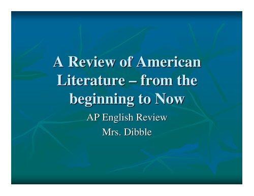 American Literary Time Period PowerPoint - TeacherWeb