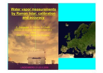 Water-vapour measurements by Raman lidar: Calibration and ...
