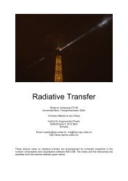 Radiative Transfer - Universität Bern