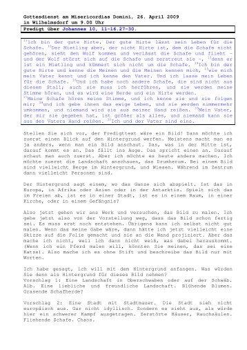 26.04 Johannes 10, 11-16. 27-30 Misericordias