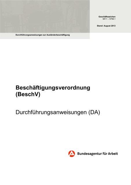 Beschäftigungsverordnung - Bundesagentur für Arbeit