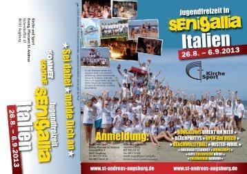 Senigalia Flyer - Evang.-Luth. Kirchengemeinde St. Andreas Augsburg